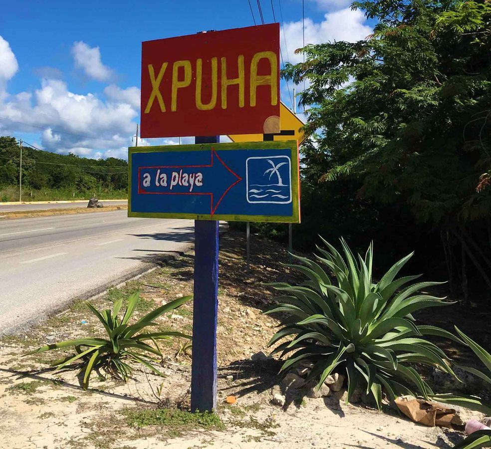 Access to the public Playa Xpu-ha beach is along a private road