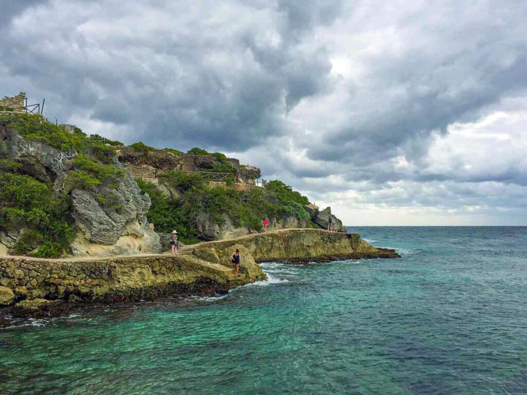 The oceanfront hike at Punta Sur is a fun thing to do with kids on Isla Mujeres