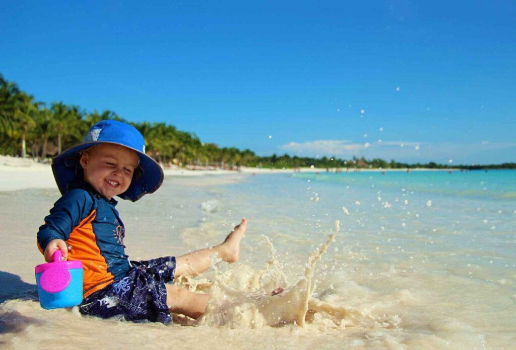 Small waves make Xpu-ha a very toddler-friendly beach near Playa del Carmen