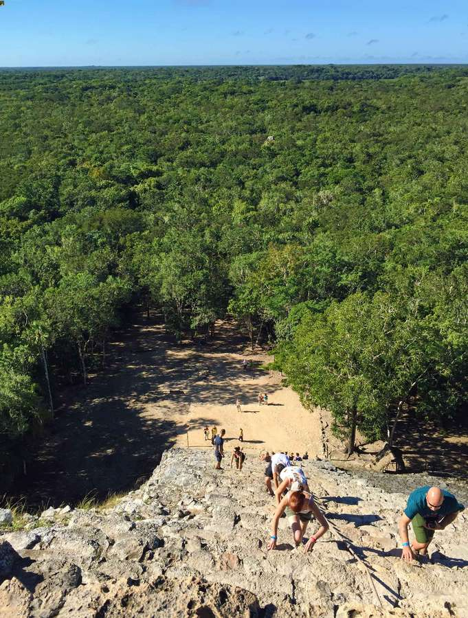 Climbing the Coba pyramid is a fun adventure