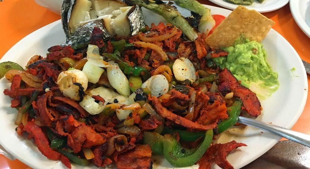 Fajitas Al Pastor was our favorite dish at El Fogon - the best kid-friendly restaurant in Playa del Carmen