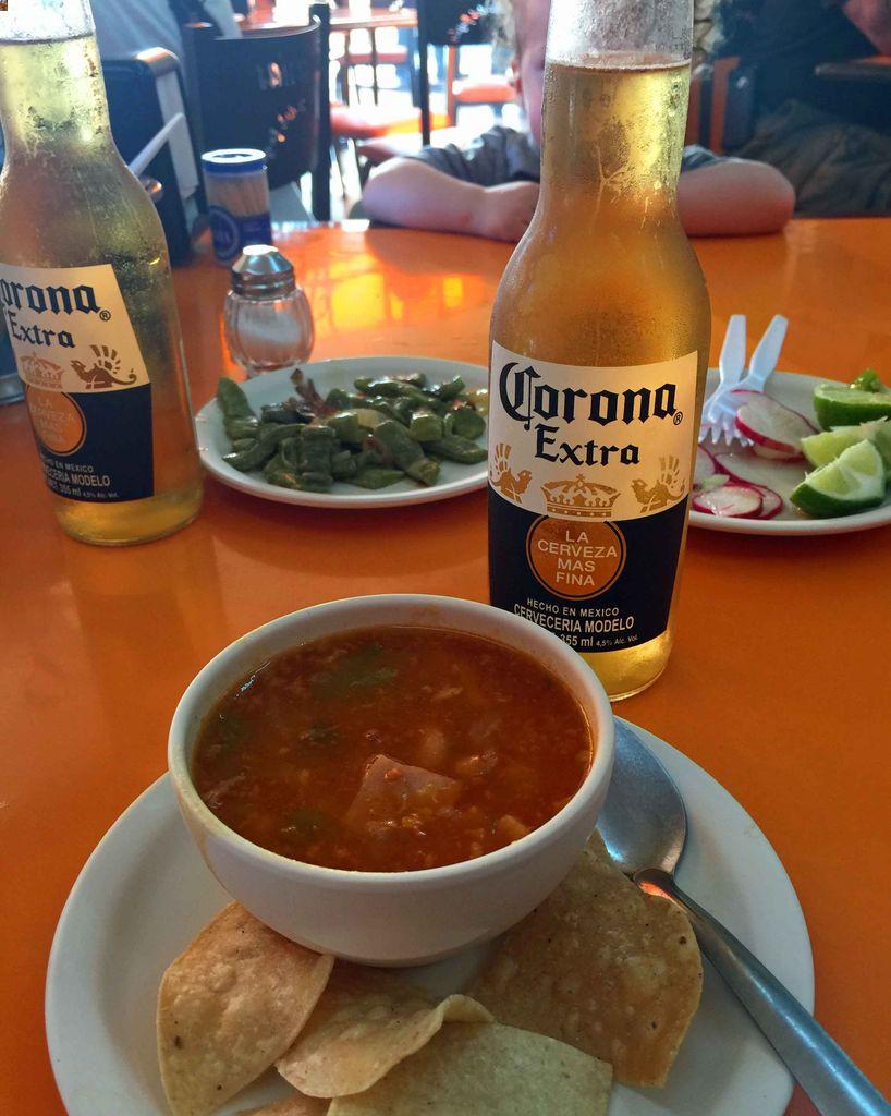 The Frijoles Charros (bean soup) at El Fogon a big reason why we think El Fogon is the best kid-friendly restaurant in Playa del Carmen