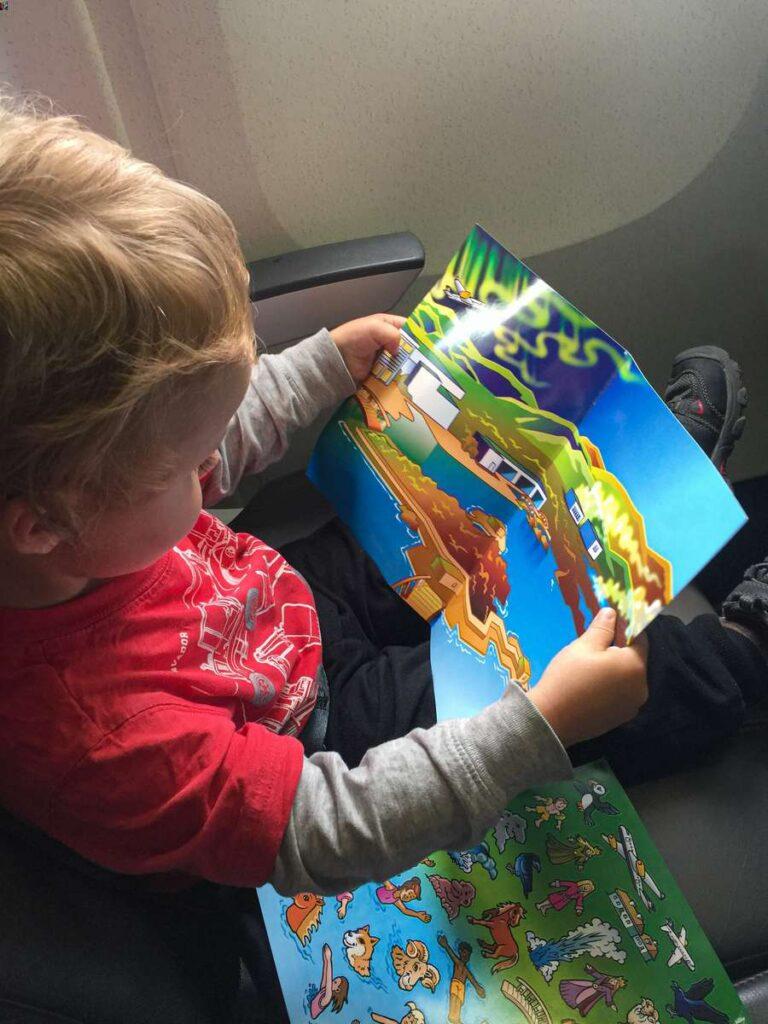 Blue Lagoon sticker sets for kids on Icelandair flight to Reykjavik