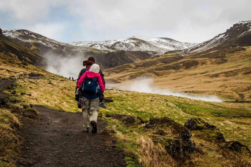 things to do on an Iceland family vacation - Reykjadalur Hot Spring Thermal River trail - Golden Circle hiking with kids