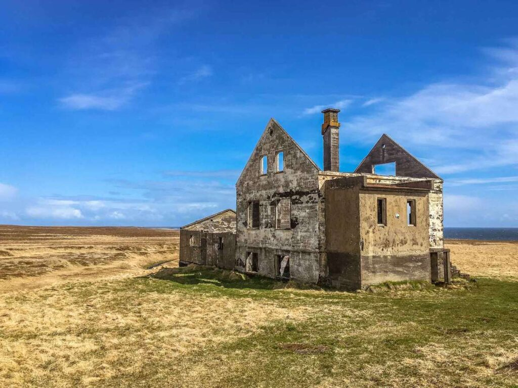 an abandoned farmhouse near Snaefellsjoekull National Park on Snaefellsnes Peninsula Iceland with kids