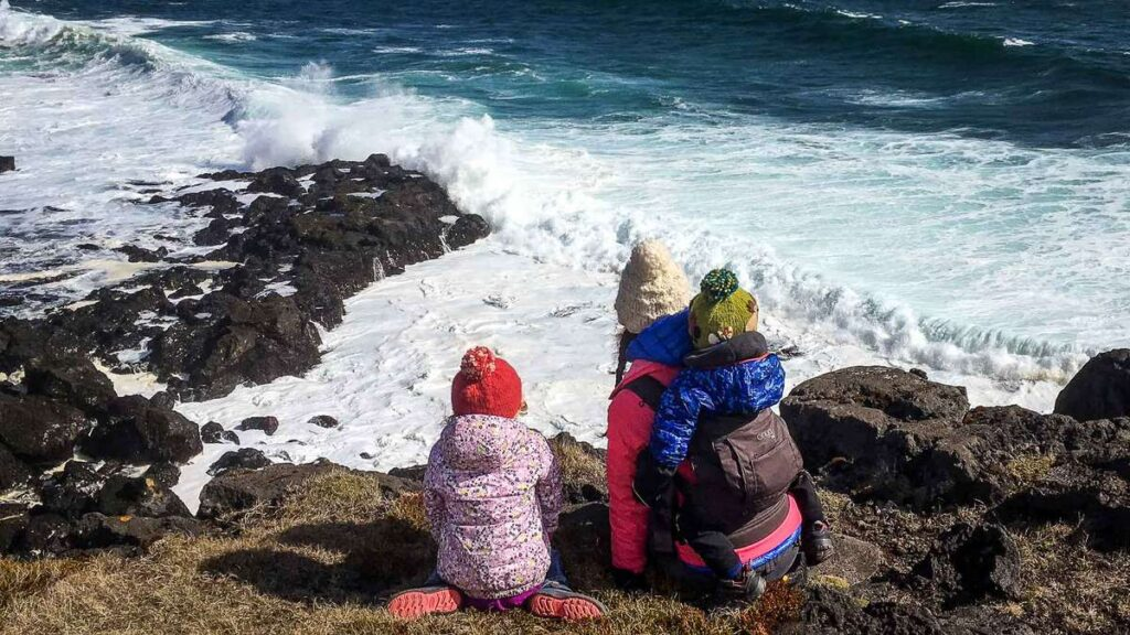 things to do on the Snaefellsnes Peninsula with kids - watching North Atlantic waves crash near the abandoned farmhouse hike