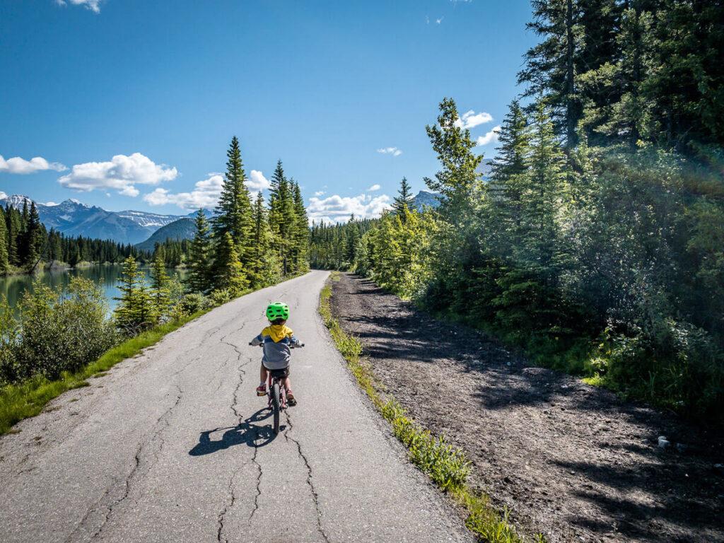 Sundance Canyon biking with kids in Banff