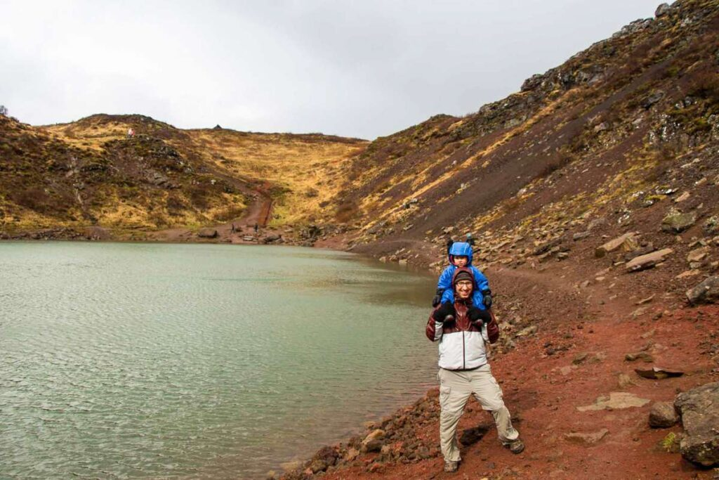 things to do in Iceland with a toddler - Easy Golden Circle hikes - Kerid Crater hike with kids