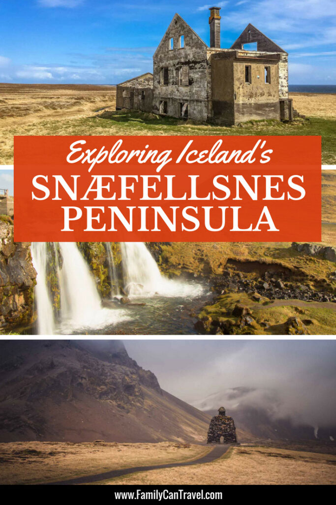 Snaefellsnes Peninsula is a great place to visit in Iceland with kids. There are volcanoes, lava fields, mountains, waterfalls, fjords and big waves on rocky cliffs. #iceland #snaefellsnespeninsula