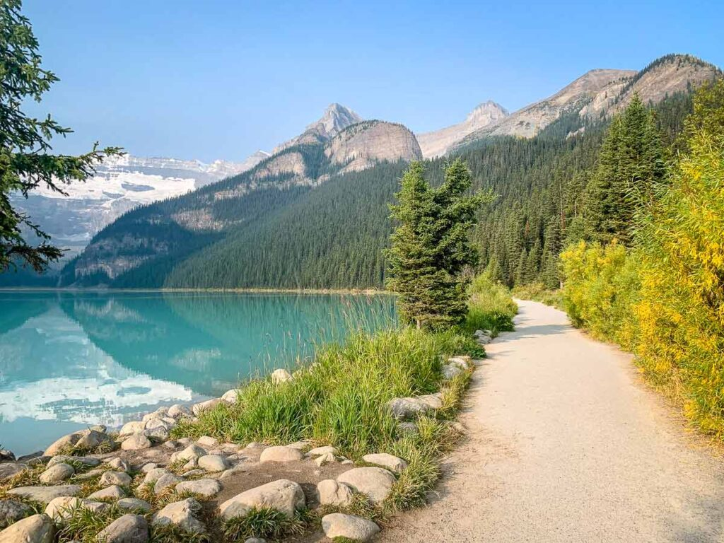 Lake Louise Lakeshore easy hike in Banff National Park with kids