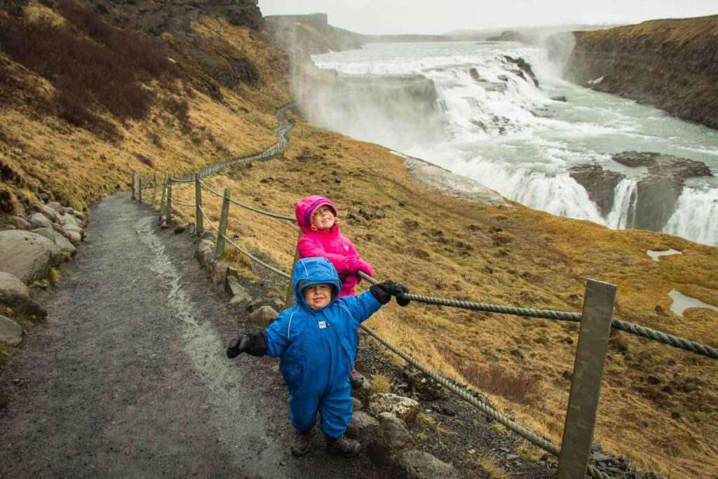 what to do in iceland with family - Golden Circle tour to Gullfoss waterfall