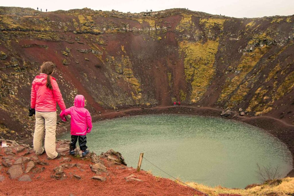iceland family vacation ideas - Kerid Crater kid-friendly hike in the Golden Circle