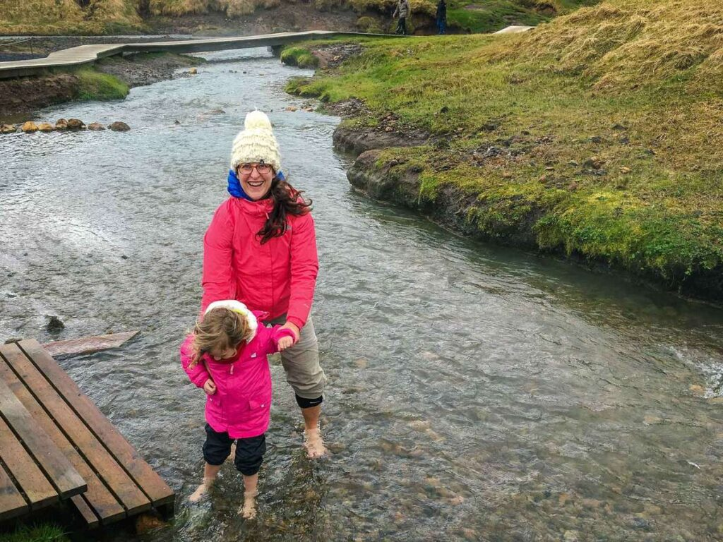 things to do on an iceland family vacation - Reykjadalur Hot Springs hike with kids