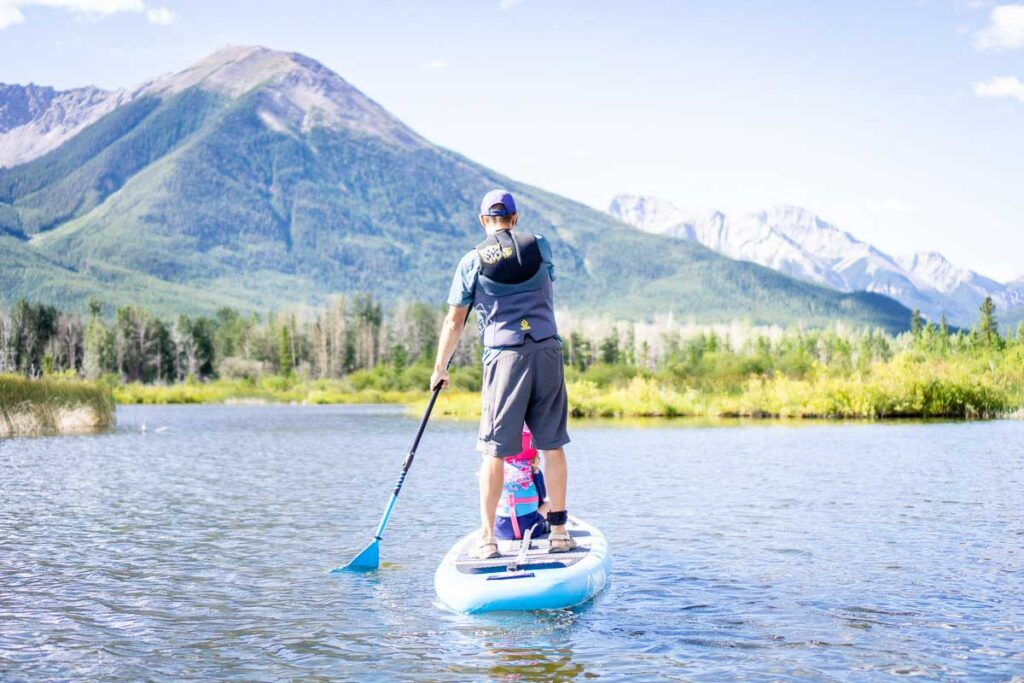 stand up paddle boarding in Banff with kids on Vermilion Lakes