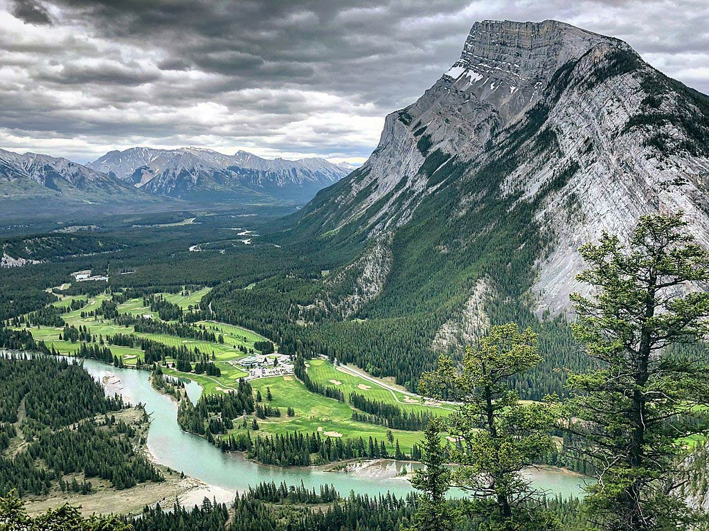 views of mountains and Bow River from Tunnel Mountain Hike in Banff