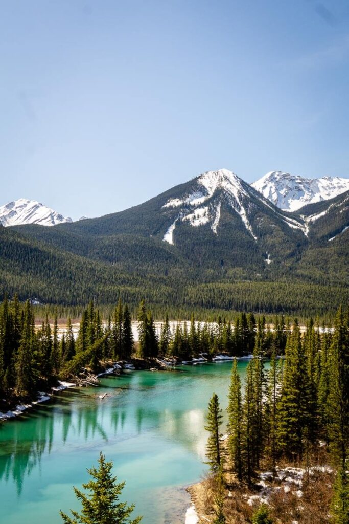 Mountain scenery along Bow Valley Parkway in Banff National Park