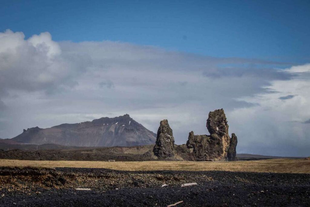 things to do on the Snaefellsnes Peninsula with kids - Londrangar Cliffs near Malariff Lighthouse in Iceland