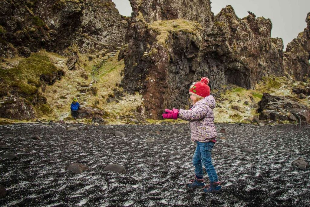 things to do on the Snaefellsnes Peninsula with kids - Djupalonssandur Beach Snaefellsjoekull National Park Iceland