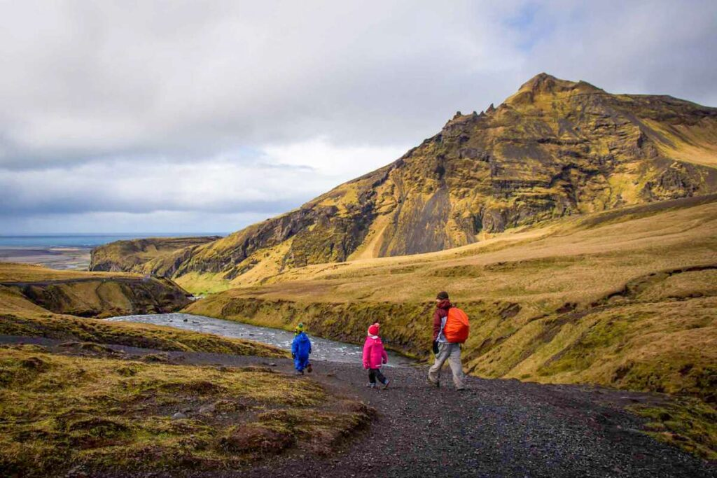 kid-friendly hiking in Iceland - skogafoss hike - Waterfall Way Trail - South - Iceland with children