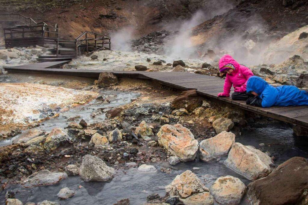 iceland travel with kids - Krýsuvík geothermal field near Reykjavik