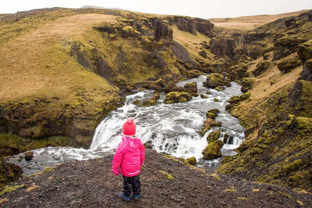 best kid-friendly hiking in iceland near reykjavik - Waterfall Way near Skogafoss Waterfall in South Iceland