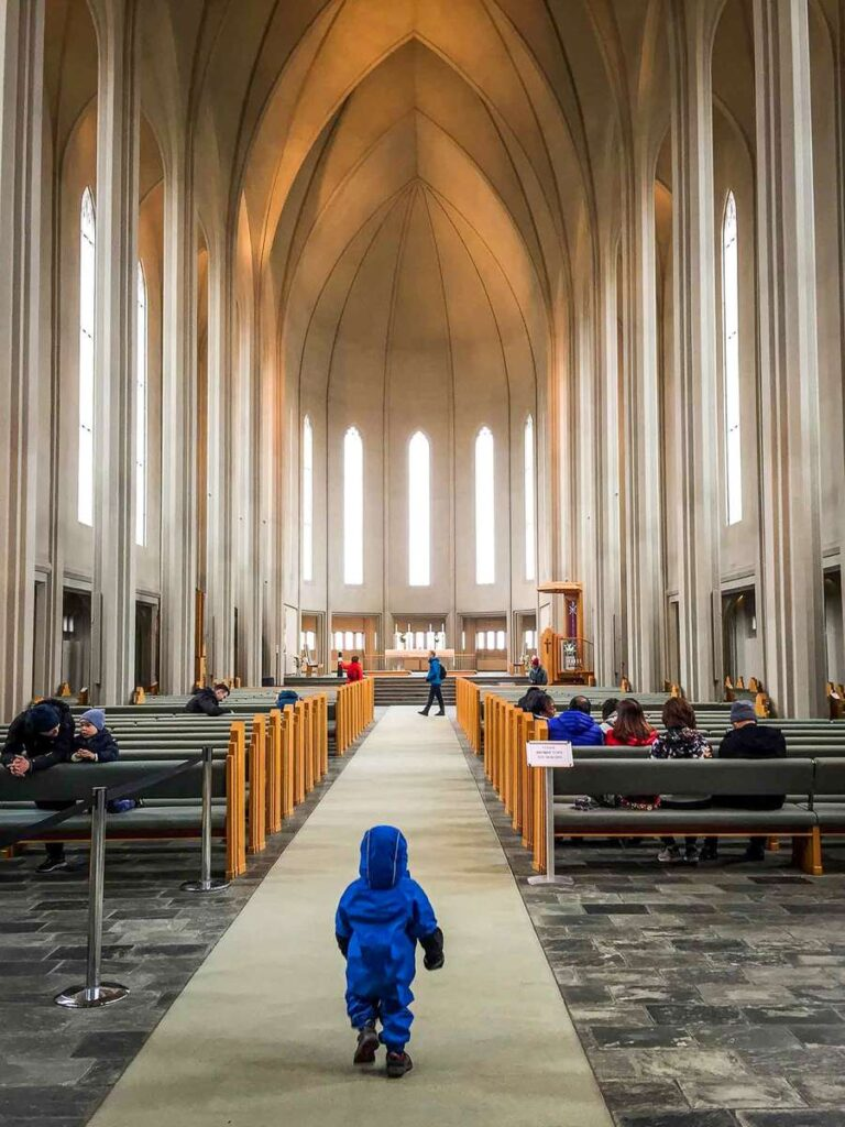 family vacation to iceland with kids - visit the famous Reykjavik church