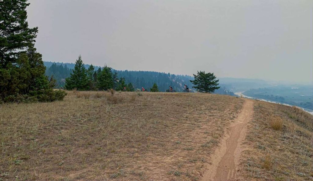 Enjoy excellent views of the Columbia Wetlands from the kid-friendly Deja View mountain biking trail near Invermere, BC