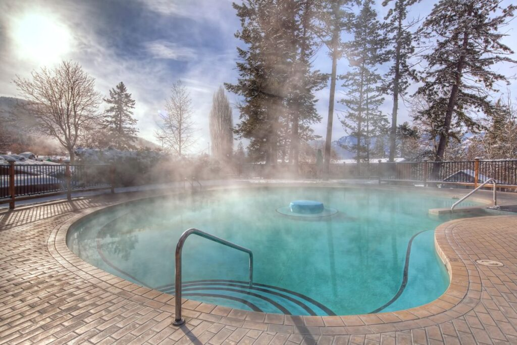 Having a private hot pool for guests is a big perk of staying at the Fairmont Hot Springs Resort - a kid-friendly resort near Invermere, BC